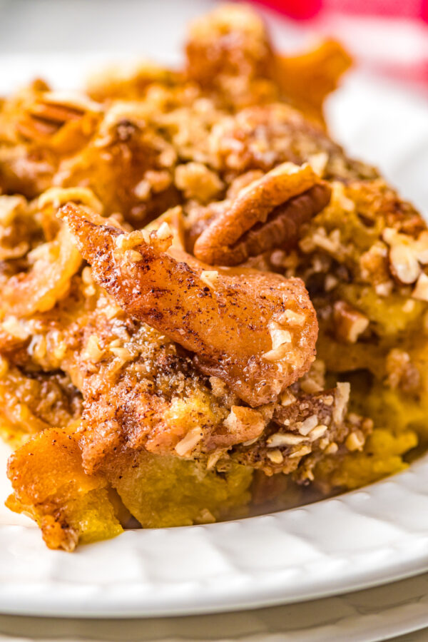 Apple pie french toast casserole with pecans.