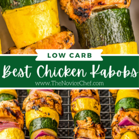 Collage image. Image 1: up close image of grilled chicken and vegetables. Image 2: image of chicken and vegetables on skewers.