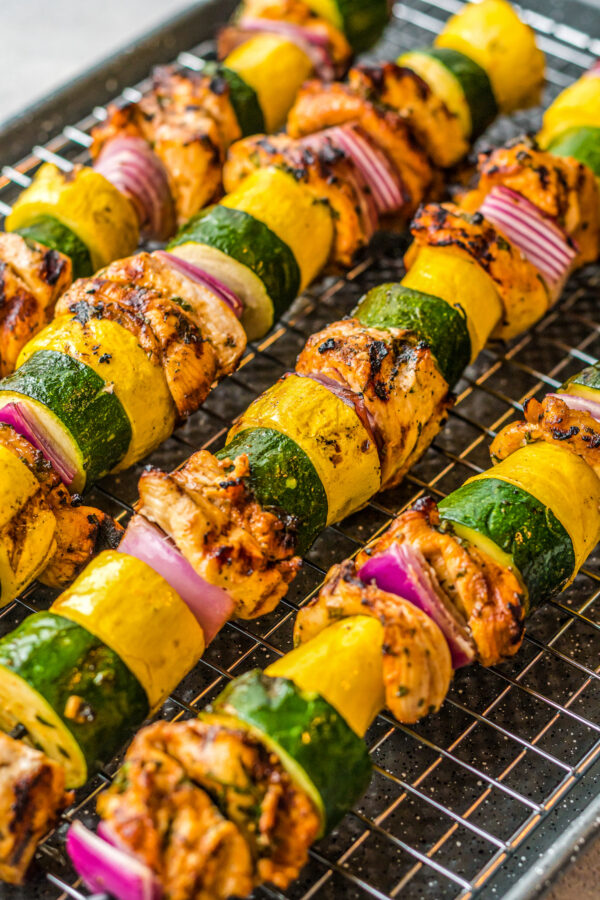 Grilled chicken and veggies on skewers.