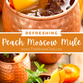 Collage image of Moscow Mule with peach and mint on top and a wide shot of a peach Moscow Mule with toppings and peaches around it.