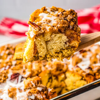 A square of pumpkin french toast casserole.