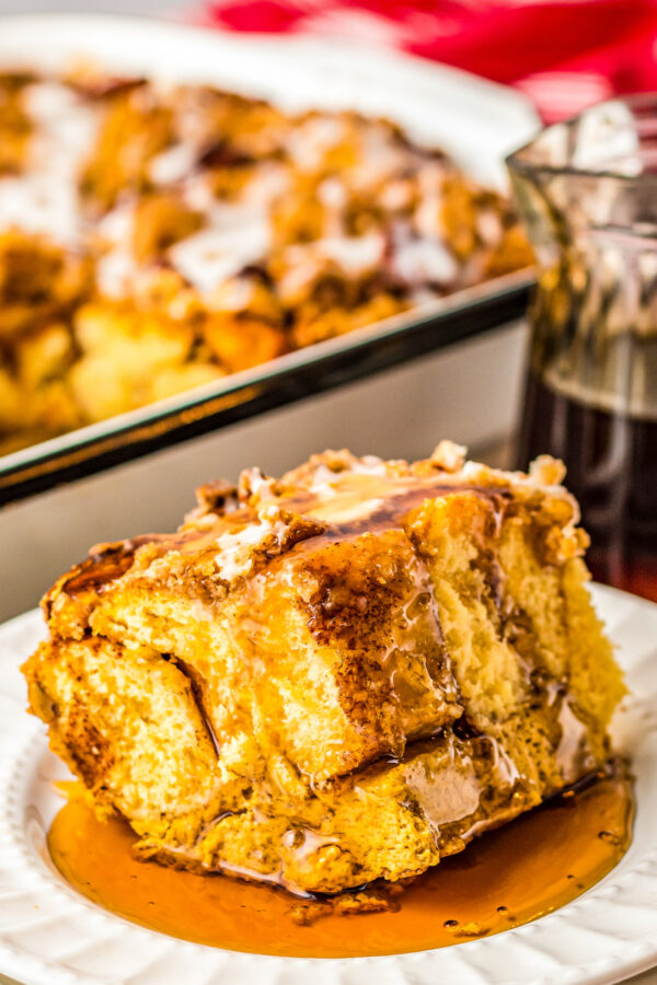 Pumpkin french toast casserole with maple syrup.