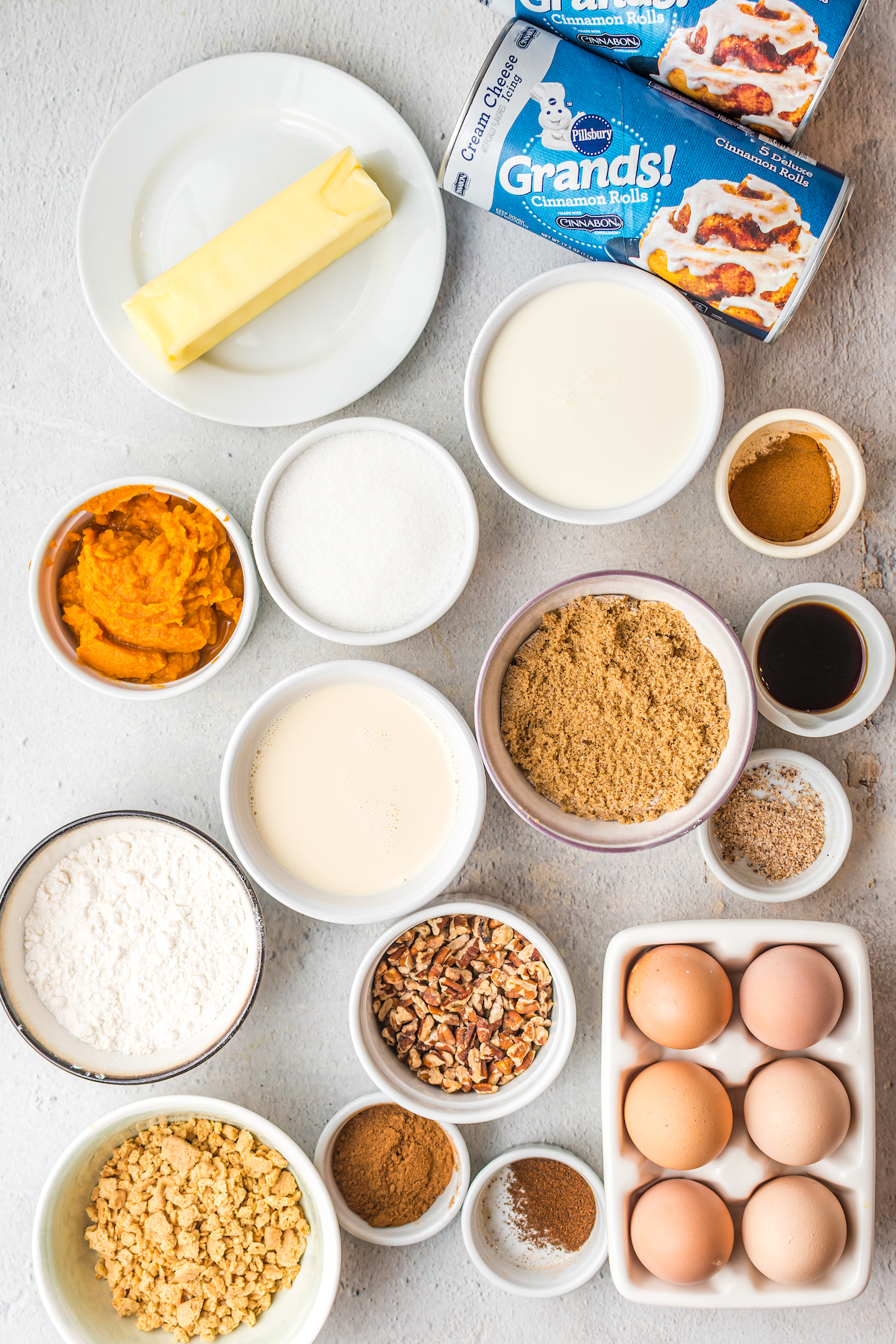 Ingredients for pumpkin french toast casserole.