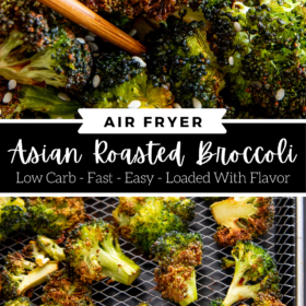 Collage image of broccoli being picked up by chopsticks and broccoli on an air fryer tray.