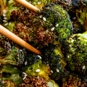 A bowl of air fried broccoli
