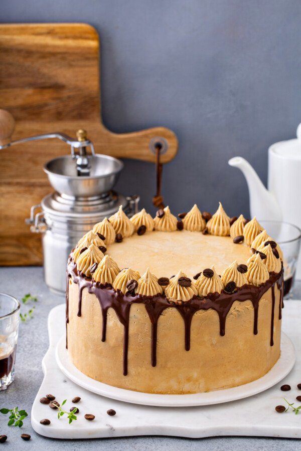 A gorgeous chocolate espresso layer cake is topped with chocolate syrup and more icing with espresso beans.