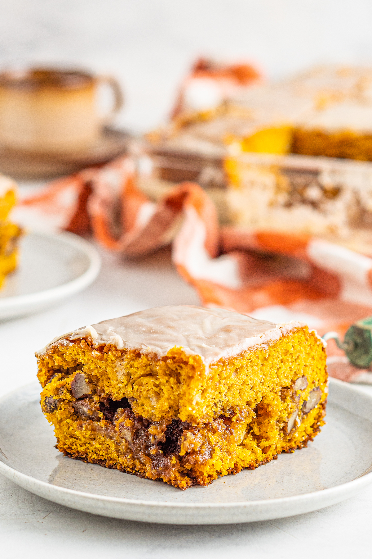 Slice of pumpkin honeybun cake.