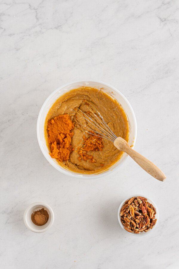 Honeybun cake batter with canned pumpkin.