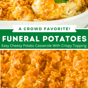 Collage image: image 1 a scoop of potato casserole with parsley on top and image 2 an up close image of crunchy topping on funeral potatoes.