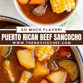 Collage image of Sancocho in a white bowl and an up close image of Sancocho in a large pot.