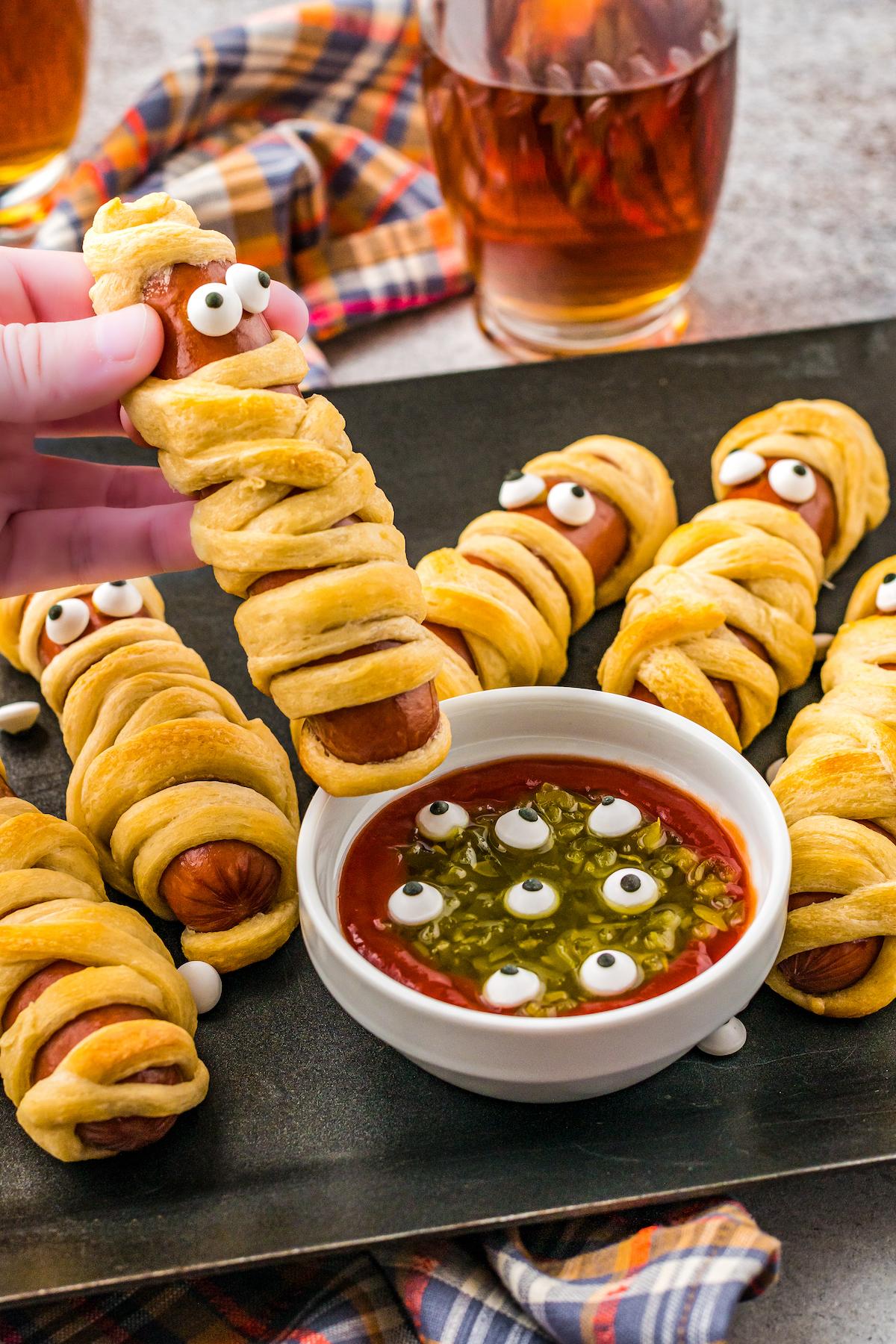 A crescent-dough-wrapped hot dog.