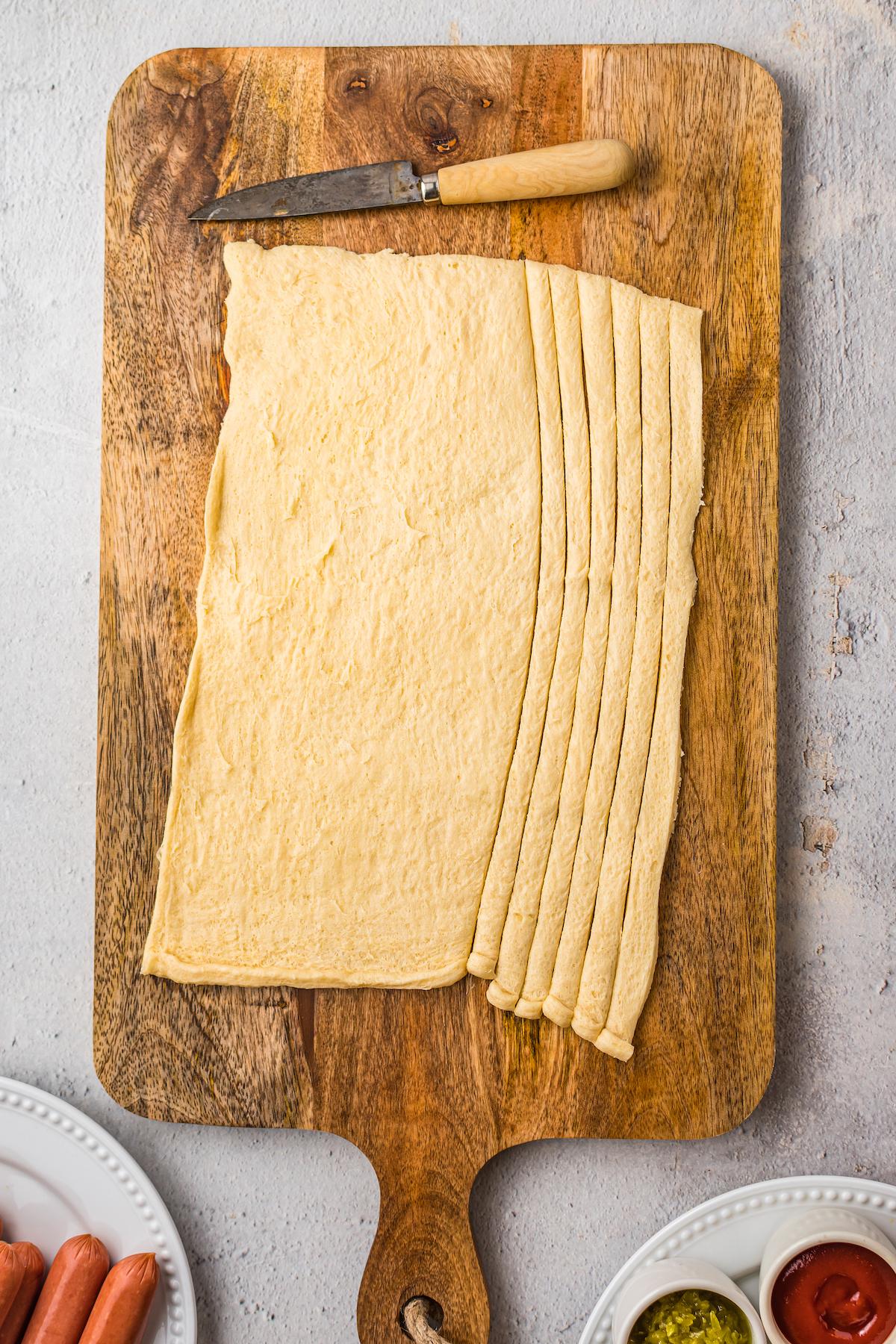 Crescent dough cut into strips.