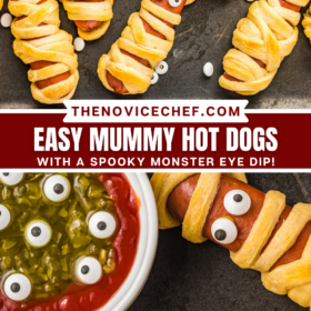 Overhead image of hot dogs wrapped with crescent dough baked with eye balls stuck on to look like a mummy and an up close image of mummy hot dogs with a red ketchup dip with eyeballs.