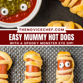 Up close image of a mummy hot dog with a ketchup and relish dip in a bowl and an image of mummy hot dogs on a baking sheet.