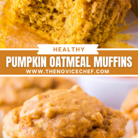 Pumpkin muffin with wrapper removed and a bite taken out of it and an image of a pumpkin muffin with wrapper sitting on a white plate.